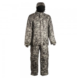 Зимний костюм HUNTSMAN Амур со снегозащитными гетрами тк. Taslan графика (антрацит) 48-50