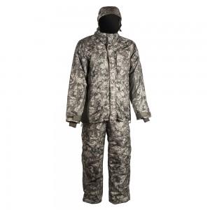 Зимний костюм HUNTSMAN Амур со снегозащитными гетрами тк. Taslan графика (антрацит) 56-58