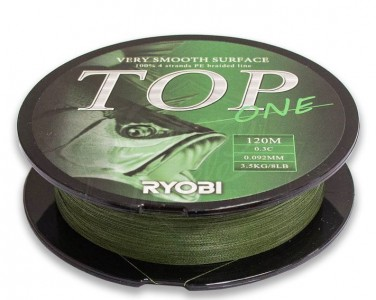 Леска плетёная RYOBI PE TOP 4* 120m d-0.37 #20kg Dark green