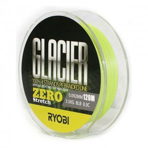 Леска плетёная RYOBI PE GLACIER 4* 120m d-0.185 #9.0kg Yellow