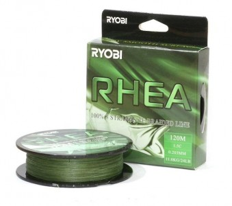 Леска плетёная RYOBI PE RHEA 8* 120m d-0.128 #6.0kg Dark green