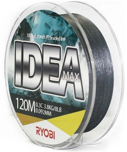 Леска плетёная RYOBI PE IDEA 8* 120m d-0.092 #3.3kg Grey