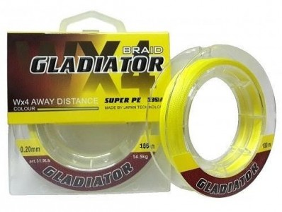 Леска плетёная Gladiator PE х4 135m d-0,35 yellow