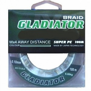 Леска плетёная Gladiator PE х4 100m d-0,35 dark green