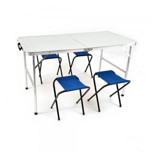 Набор Стол раскладной, влагозащищенный 60х120 см и 4 табурета